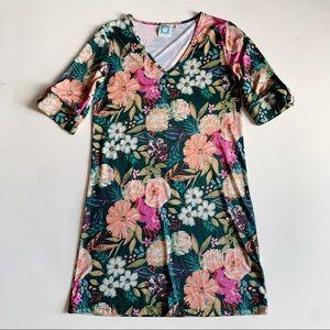 Vera Fishbaugh VFish V Neck Floral Dress Large